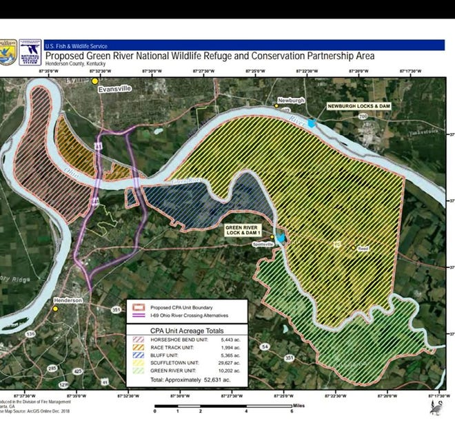 An overview of the potential area of the newly established Green River National Wildlife Refuge in Henderson County.