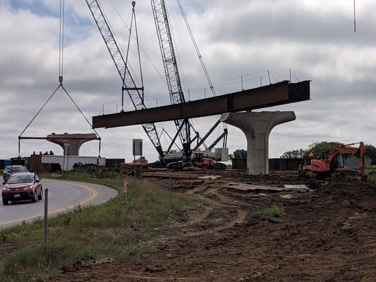 A picture taken by the Iowa Department of Transportation of the beams they will be placing over the I-80 lanes.