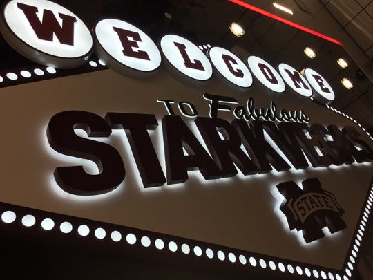 "Mississippi State has an illuminated sign that says ""Welcome to fabulous Starkvegas"" on the ceiling in the new recruiting lounge."