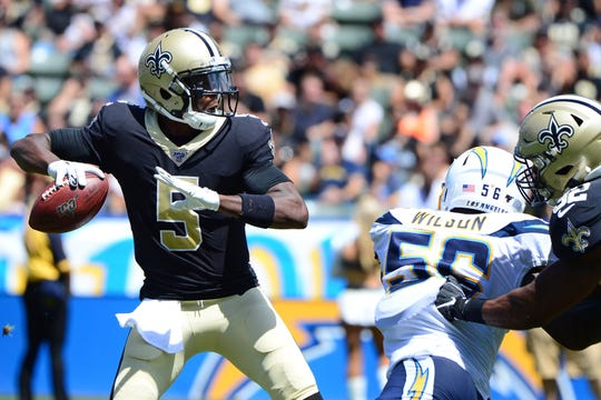 Aug 18, 2019; Carson, CA, USA; New Orleans Saints quarterback Teddy Bridgewater (5) looks to pass during the second quarter against the Los Angeles Chargers at Dignity Health Sports Park. Mandatory Credit: Jake Roth-USA TODAY Sports