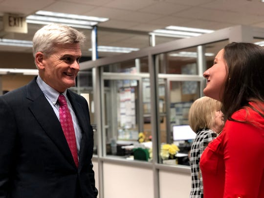 U.S. Sen. Bill Cassidy speaks with St. Landry Chamber of Commerce CEO Raquella Manuel at his event in Opelousas.