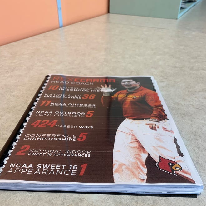 A booklet provided by former Louisville men's tennis coach Rex Ecarma contains letters of support from former players and others.