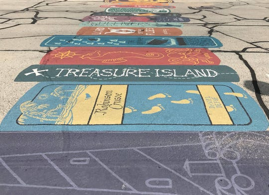 An artful crosswalk in downtown Manitowoc between the Farmers' Market lot and the Manitowoc Public Library.