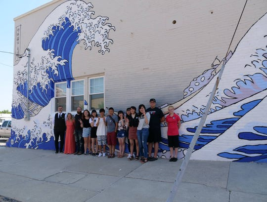 A mural on the Coolest Coast building represents Manitowoc's Sister City, Kamogawa, Japan.