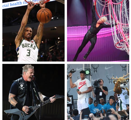 Fiserv Forum's first year included (clockwise, from top left) an incredible Milwaukee Bucks season, a stunning Pink show, Giannis Antetokounmpo's MVP celebration, and a jaw-dropping week of rock concerts starting with Metallica.