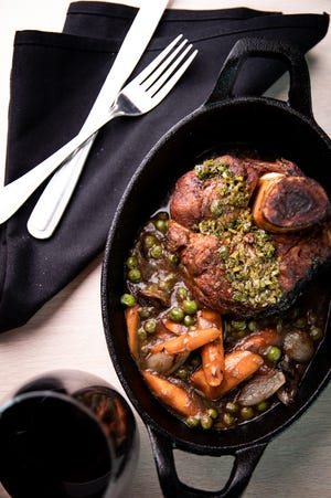 Veal shank with peas, carrots and shallots is one of the main dishes on the menu at Waterlin, the restaurant in the new Delta by Marriott hotel in Menomonee Falls. It's due in October.