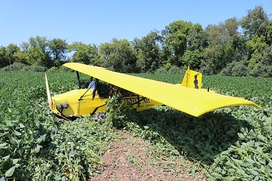 A planed crashed in a field Monday in Jefferson County.