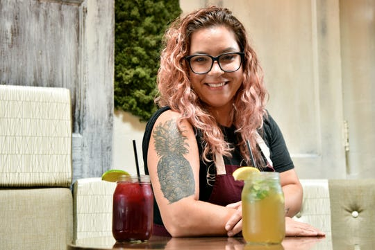 Passaic native Leia Gaccione is chef/owner of South + Pine American Eatery in Morristown and Central and Main in Madison. Gaccione's favorite tattoo is of pineapple and she has started and herb tattoo containing purple basil, lavender, oregano, rosemary, sage and thyme which she plans on adding to over time. Gaccione was photographed at Central and Main on August 13, 2019.
