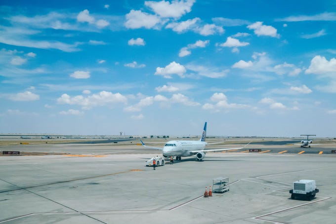 A plane taxis before take off in Denver, Colorado on Wednesday, Aug. 14, 2019.