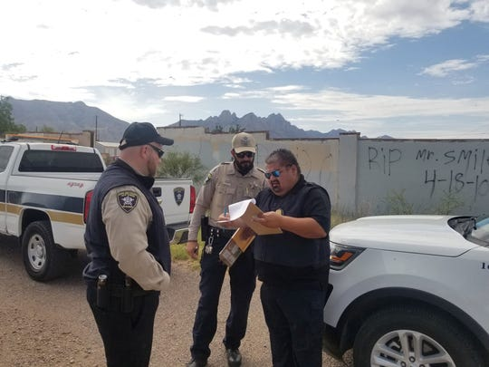 Code enforcement officers from Dona Ana County work on a case earlier this month near Las Cruces. They were in Carlsbad Aug. 22 to conduct an illegal dumping workshop.
