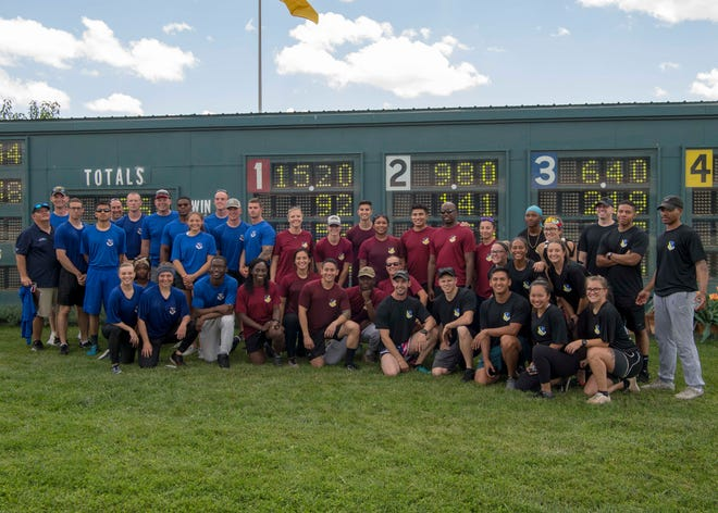 Battle of the Bases teams gather for a group picture, Aug. 10, 2019, at the racetrack in Ruidoso, N.M. Holloman Air Force Base, Kirtland AFB and Cannon AFB each had 12 competitors as well as spectators.