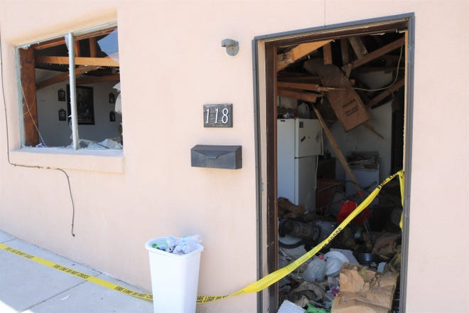 One man was burned in a gas explosion, Sunday, Aug. 18, 2019, in an apartment at 118 W. Chuska St. in Aztec.