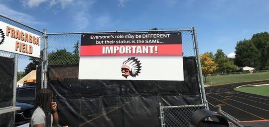 The sign that greets Brother Rice players and coaches as they enter Fracassa Field.