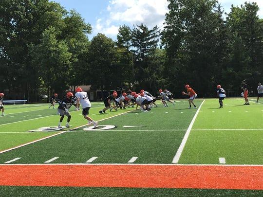 The Brother Rice football team practices ahead of the regular season on Aug. 17 at Fracassa FIeld.