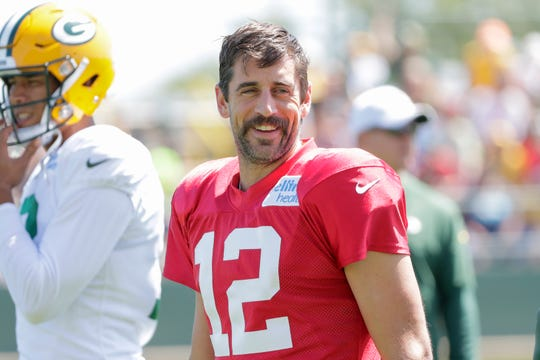 Green Bay Packers' quarterback Aaron Rodgers (12) during training camp Monday, August 19, 2019, at Ray Nitschke Field in Ashwaubenon, Wis.