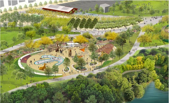 An artist's rendering shows a 20,000-square-foot playground planned for Phoenix's Margaret T. Hance Park thanks to a $2 million donation by the Fiesta Bowl.