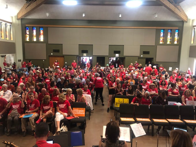 Hundreds of people came to the Moms Demand Action rally for sensible gun laws on Sunday, August 18.