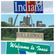 As my cousin Theresa and her wife Janet made their way to Arizona, Theresa posted on Facebook pictures of welcome signs as they crossed into each state.