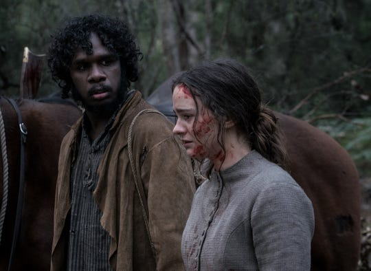 "Baykali Ganambarr and Aisley Franciosi in ""The Nightingale."""