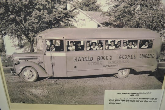 This vintage photo of the Harold Boggs' Gospel Singers' bus is on display at the Ottawa County Museum. (The leader's name is misspelled on the bus.)