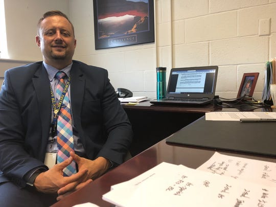 South Eastern Superintendent Nathan Van Deusen sits in his office, ready for the 2019-20 school year. He began a three-year term at the district July 1.
