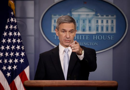WASHINGTON, DC - AUGUST 12:  Acting Director of U.S. Citizenship and Immigration Services Ken Cuccinelli speaks about immigration policy at the White House during a briefing August 12, 2019 in Washington, DC. During the briefing, Cuccinelli said that immigrants legally in the U.S. would no longer be eligible for green cards if they utilize any social programs available in the nation. (Win McNamee/Getty Images/TNS)