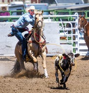 A rider dismounts his horse after roping a calf.
