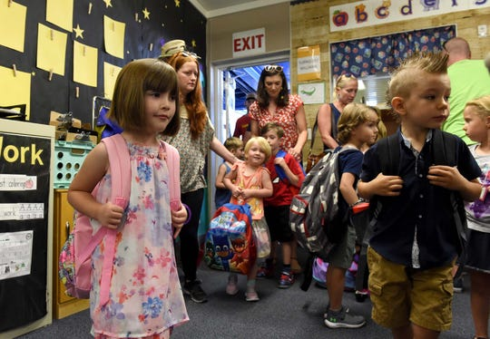 Images of the First Day of Kindergarten at Hunter Lake Elem. The Class of 2031.