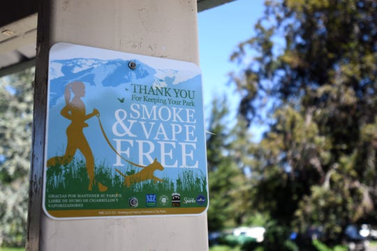 A newly unveiled no smoking sign at Idlewild Park in Reno. This sign will be placed at parks across Washoe County as a new no smoking and no vaping in public parks ordinance is rolled out.