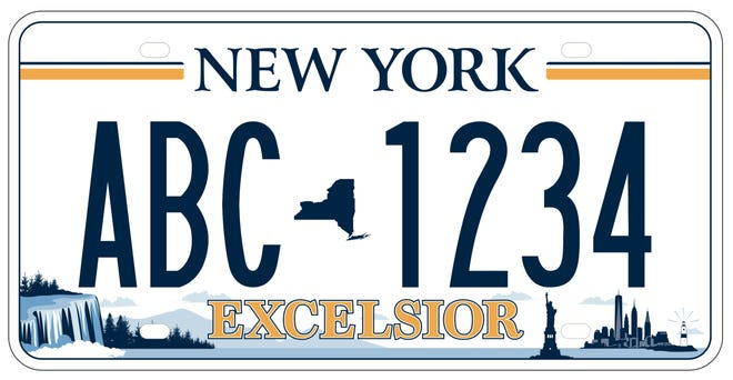 "New York's new ""Excelsior"" license plate design is being distributed in more than 12 counties so far."