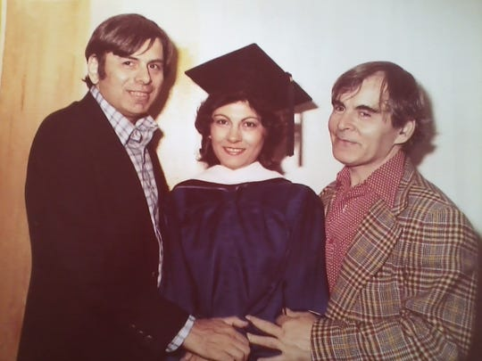 Rosemary with two of her brothers, Gerald, left and Carl Christoff, 1980.