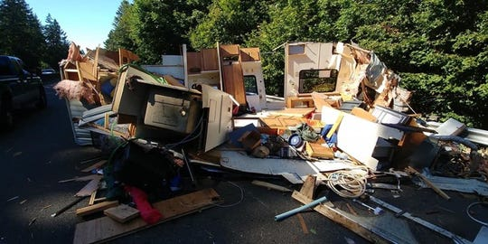 A crash involving an RV trailer blocked a lane on Highway 22 Sunday afternoon.