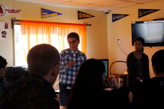 The John Muir Charter School teacher tells Rancho Cielo students what to expect during classes to earn their high-school diplomas Aug. 14, 2019. The students are part of Rancho Cielo's inaugural agriculture class, which teaches students skills involved in fixing and maintaining ag technology, such as food processing plants' equipment.