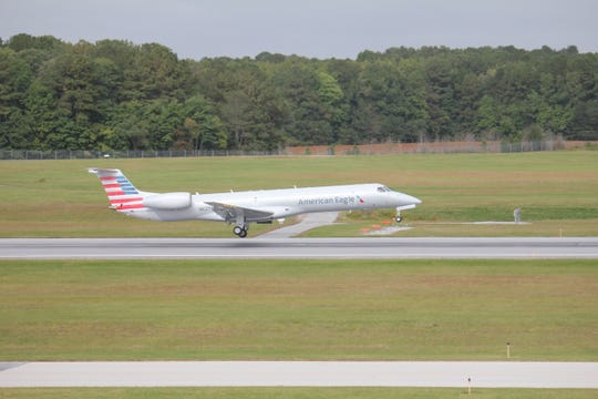A regional jet operated by Piedmont Airlines lands in Salisbury Airport.