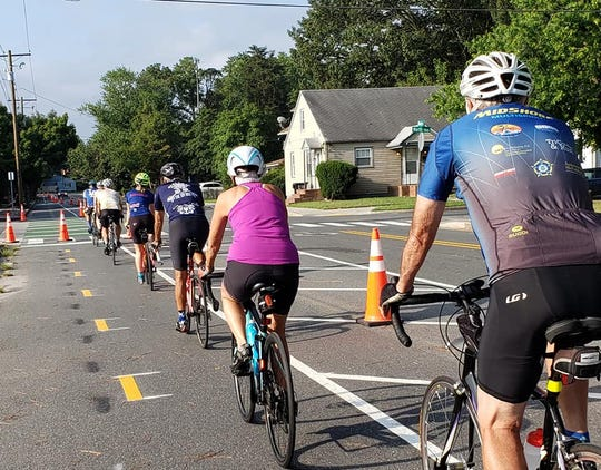 Bicyclists with the Shore Velocity cycling club try out the new bike lane on Waverly Drive in Salisbury on Aug. 17, 2019.
