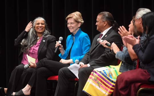 Elizabeth Warren answers questions from Native American panelists at the Frank LaMere Native American Presidential Forum hosted by Four Directions on Monday, August 19, at the Orpheum in Sioux City.