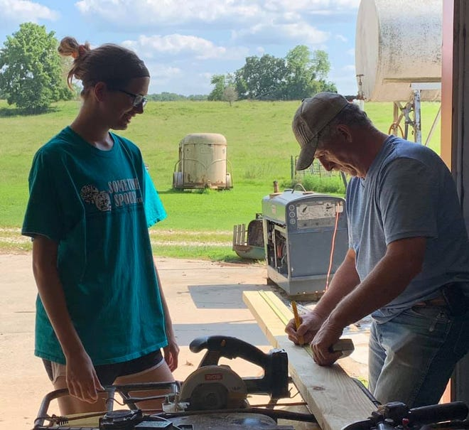 Payton Ogle and Michael Ogle work on a project for Sometimes Spouse.