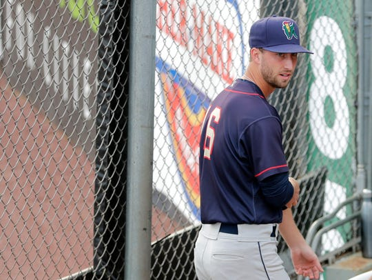 Cedar Rapids Kernels pitcher Austin Schulfer, a Plover native, waits in the bullpen before their game against the Wisconsin Timber Rattlers on Aug. 14 at Neuroscience Group Field at Fox Cites Stadium in Grand Chute.