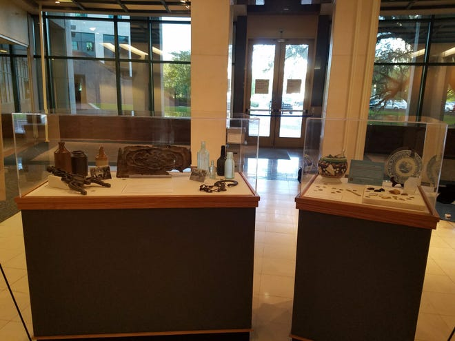 Florida Bureau of Archaeological Research has put together a sample of the artifacts recovered from the Washington Hall and Courthouse sites which are on display just off the rotunda of the Leon County Courthouse.