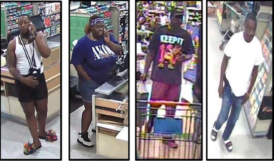 The Tallahassee Police Department is looking for four suspects who allegedly bought $10,000 in goods from Walmart and Publix with a stolen credit card.