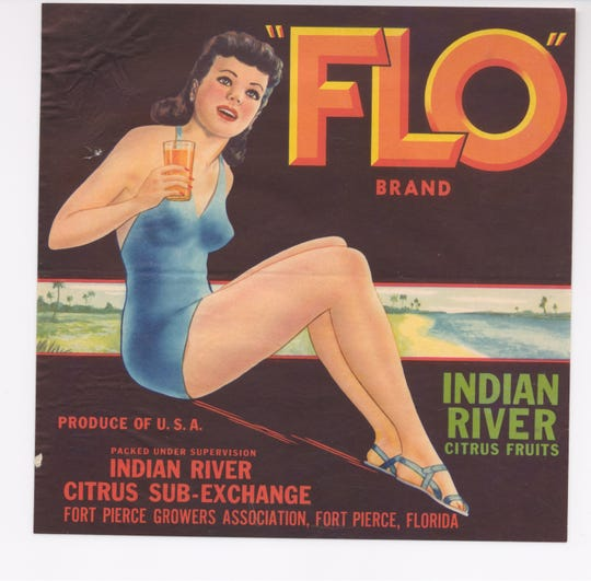 "The first sign on the Indian River County citrus crate label tour features ""Flo"" and her evolution from a brunette in a one-piece bathing suit to a blonde in a bikini."