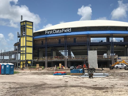First Data Field, the New York Mets' spring training home in Port St. Lucie, is seen Monday, Aug. 19, 2019. The stadium is being renovated, but team officials said the project is expected to be completed by the start of spring training in February.