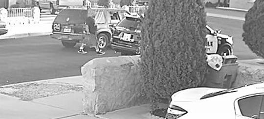 A man suspected of slashing the tire of an El Paso County constable patrol vehicle in seen in a security camera image from Aug. 11, 2019.