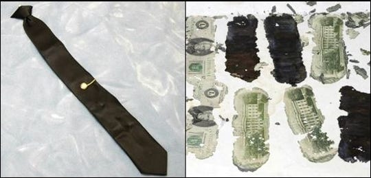 A black J.C. Penney tie left on the plane by the hijacker, and some of the $5,800 in ransom money later found by a boy along the Columbia River are among the few pieces of physical evidence in the 1971 skyjacking by a suspect known as D.B. Cooper.