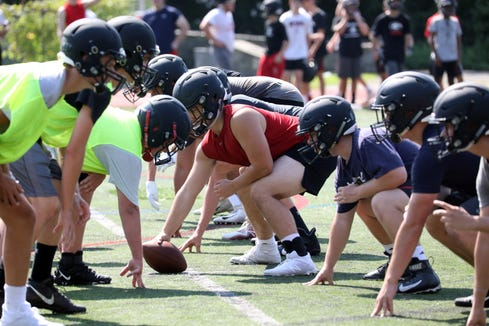 The first day of football practice at Rye High School Aug. 19, 2019.