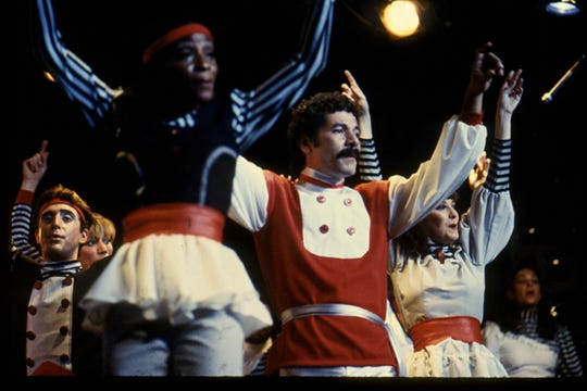 """George Puello in the 1982 Mahopac Farm Playhouse cast of """"Parusia,"""" the Bible-based oratorio that he conceived, wrote, composed, directed, co-choreographed and starred in. It ran for more than a year."""