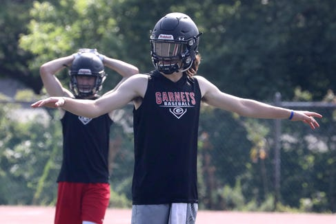 Rye's Declan Lavelle during the first day of football practice Aug. 19, 2019.