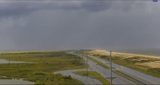 DelDOT's traffic cameras capture the storm in Sussex County on Aug. 19. Here Route 1 can be seen along Delaware Seashore State Park between Dewey Beach and Bethany Beach.