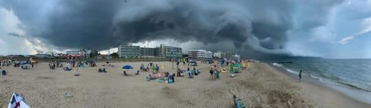 A storm rolls in over Rehoboth Beach Aug. 19.