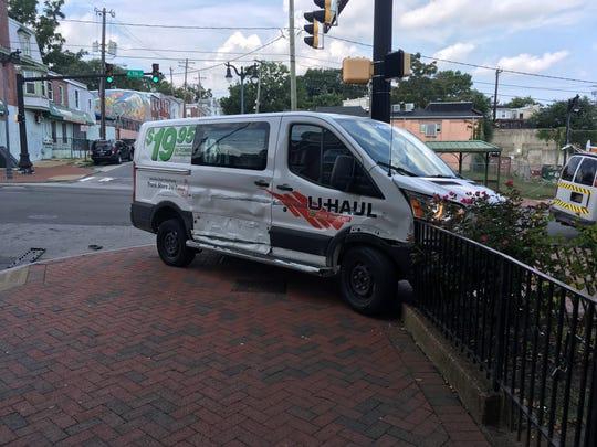 An U-Haul crashed on 4th and Van Buren in Wilmington.
